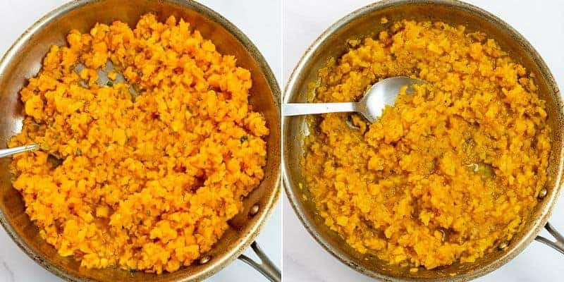 Steps on how to make butternut squash risotto in the skillet.