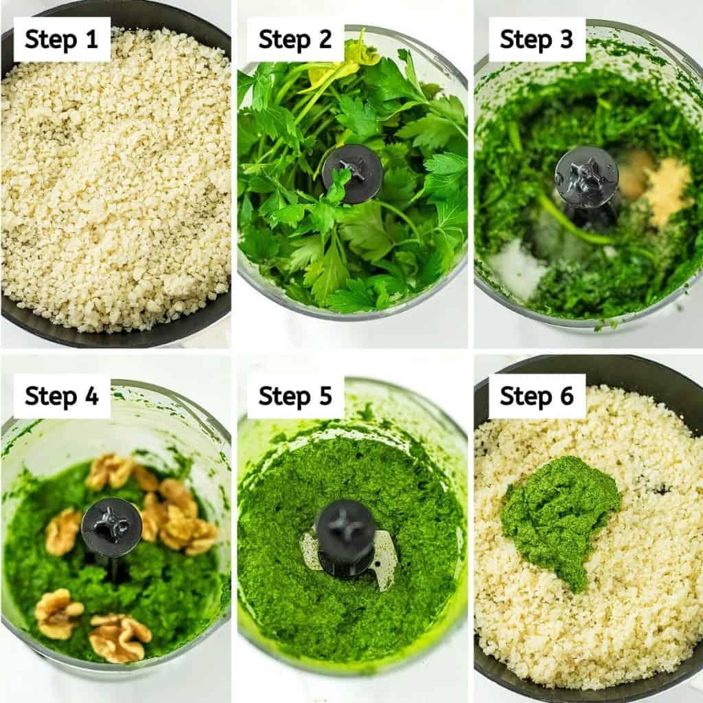 Steps on how to make green cauliflower rice.