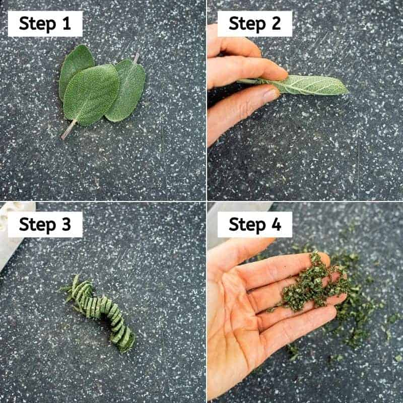 Steps on how to chop sage.