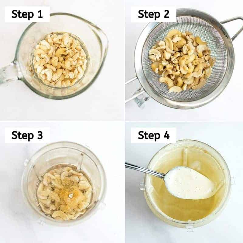 Steps on how to make the cashew cream sauce.