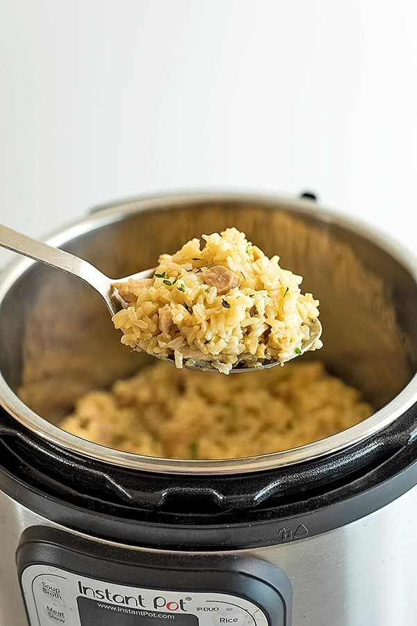 Stainless Steel Spoon Serving Instant Pot brown rice with chicken thighs