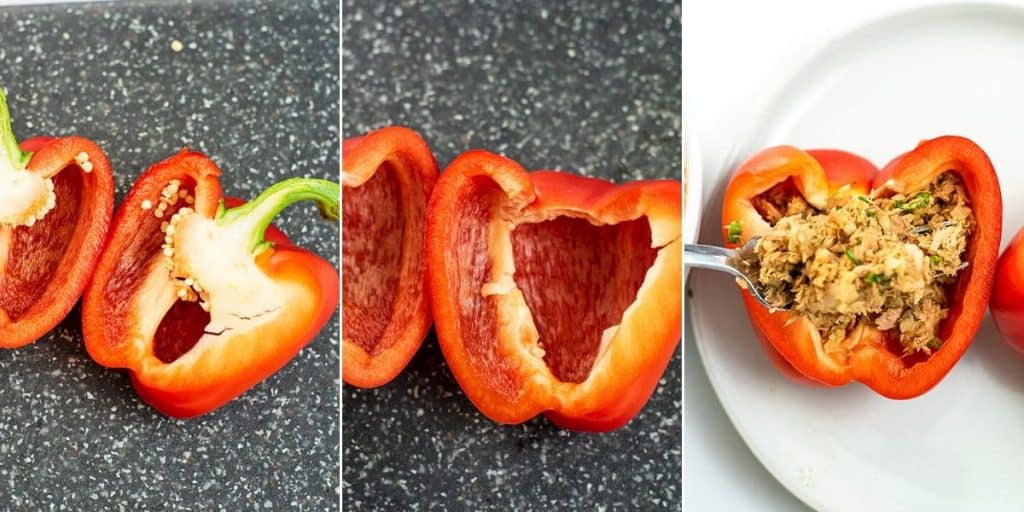 Steps on how to cut a bell pepper for stuffing