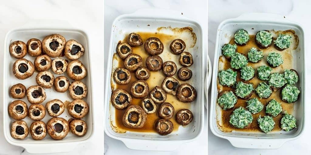 Steps on how to bake stuffed mushrooms.