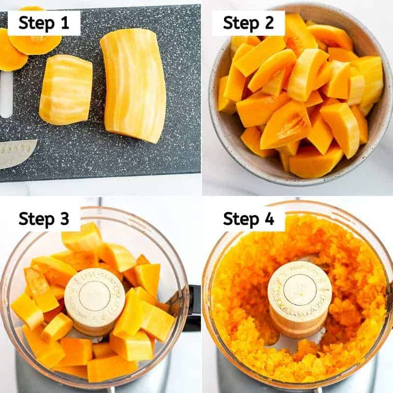 Steps on how to make butternut squash rice.