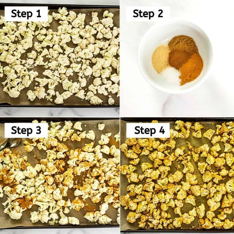 Steps on how to make Moroccan cauliflower.