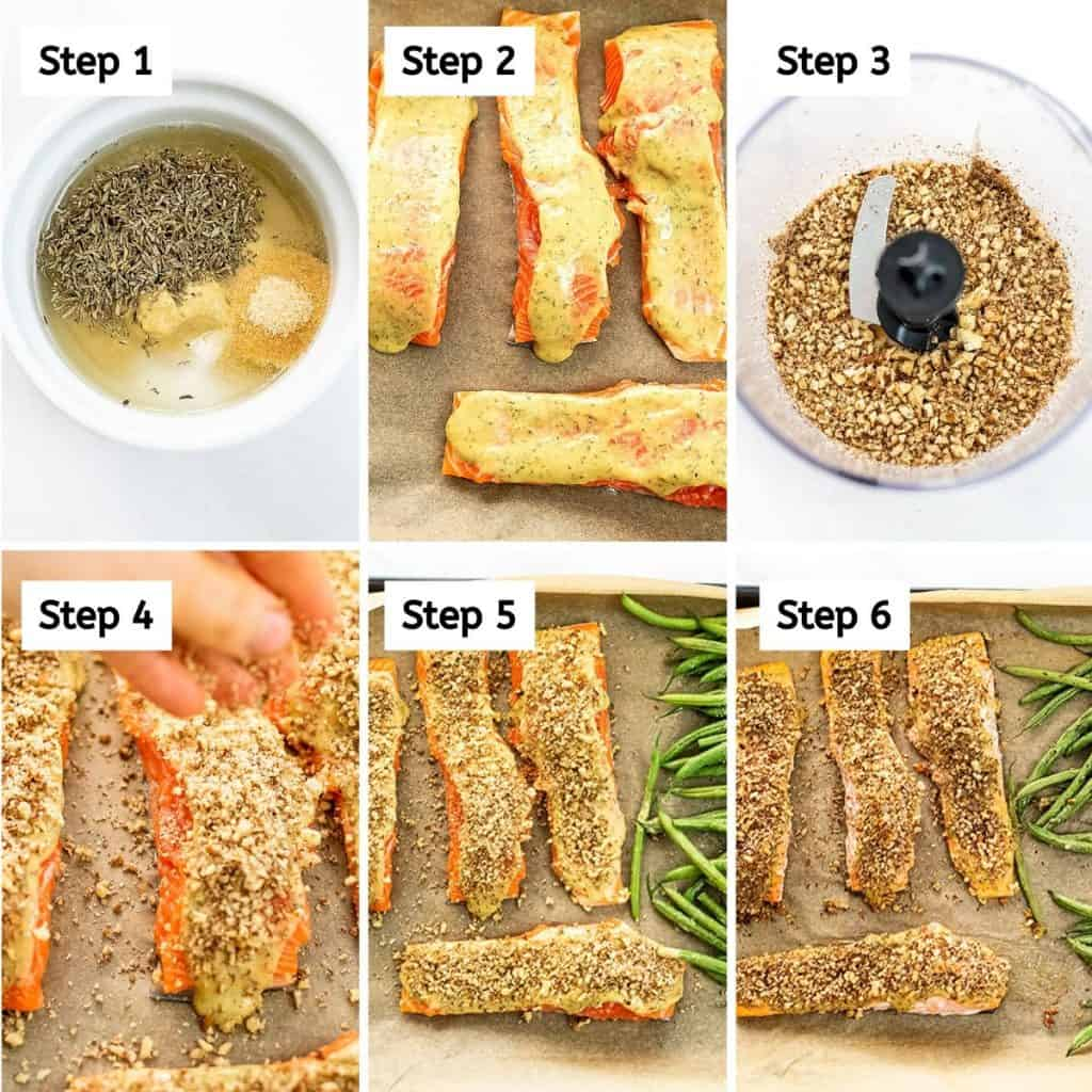 Steps on how to make pecan crusted salmon.