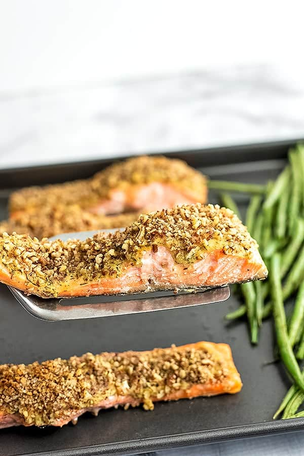 Spatula holding a piece of pecan crusted salmon over sheet pan.