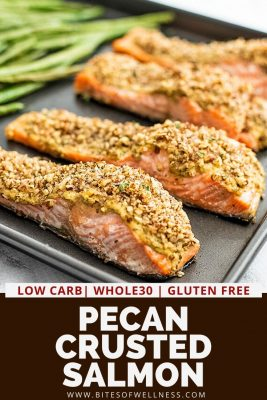 Baking sheet with pecan crusted salmon filets.