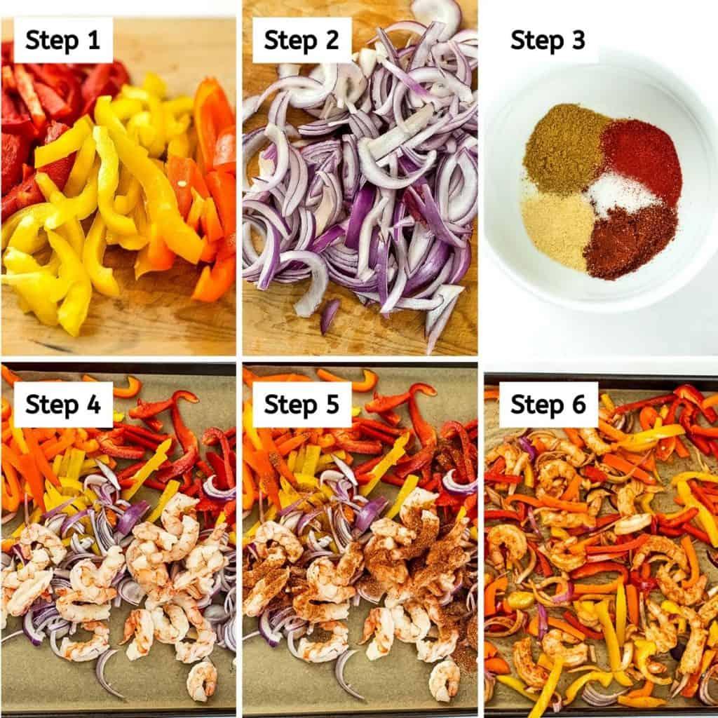 Steps on how to make sheet pan shrimp fajitas.