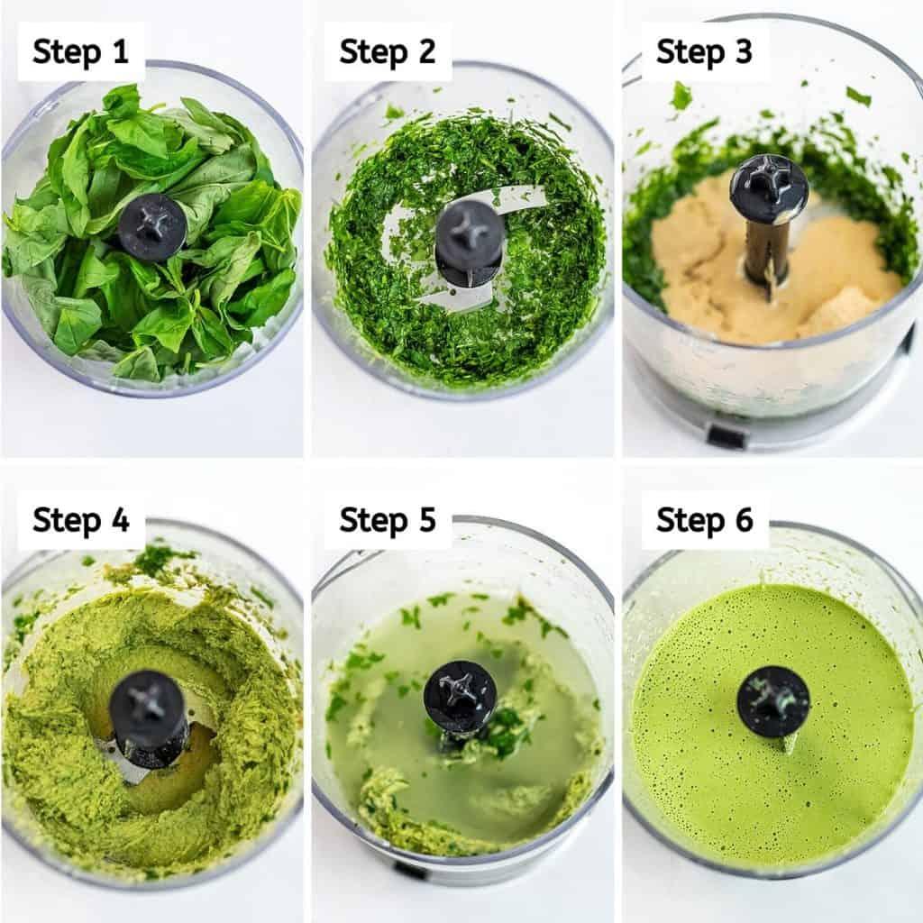 Steps to make creamy tahini pesto.