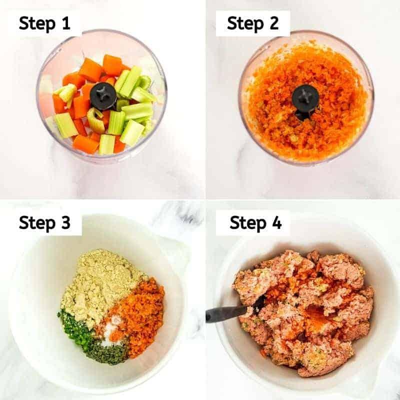 Steps to make the buffalo turkey meatballs.