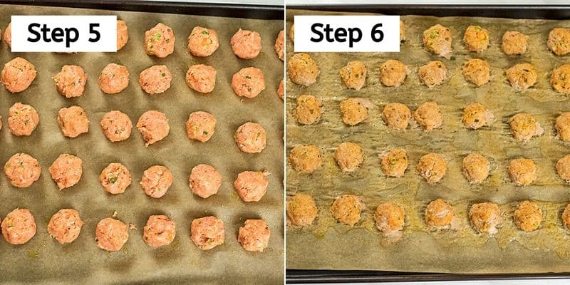 Buffalo Turkey Meatballs before and after baking.
