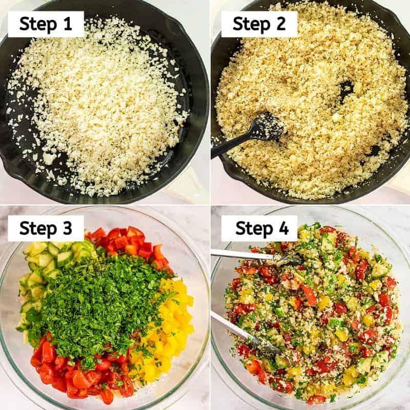 Steps to make cauliflower tabbouleh.