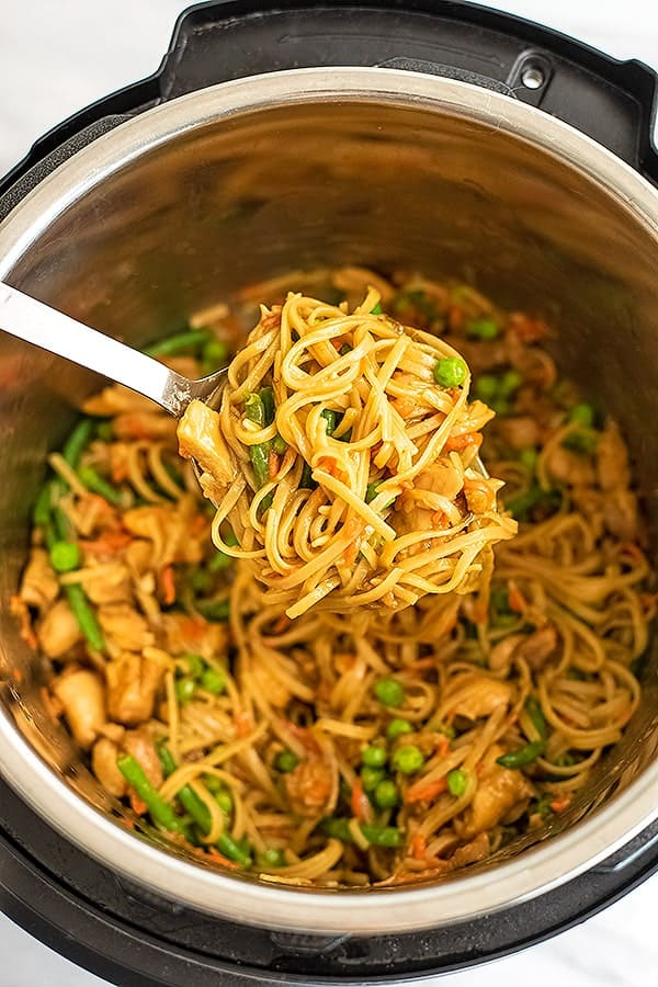 Large spoonful of Asian chicken and noodles over Instant Pot.