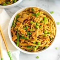 Large bowl of Instant Pot Asian Chicken and Pasta.