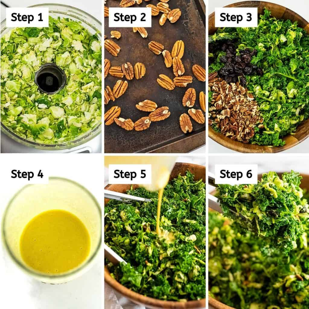 Steps to make kale brussel sprouts salad with cranberries.