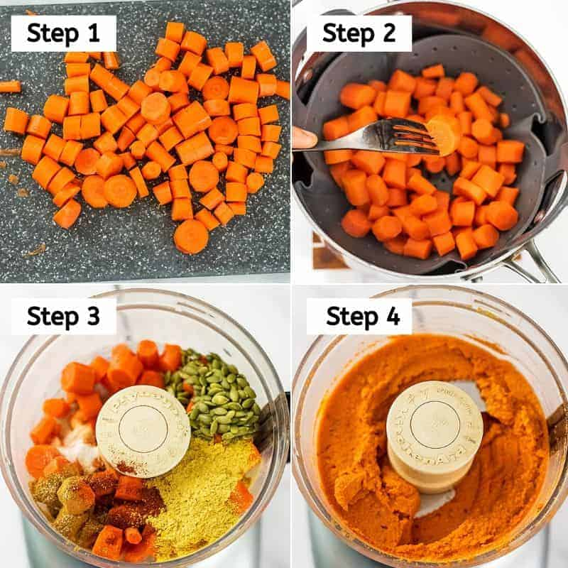 Steps to make spicy chipotle carrot dip.