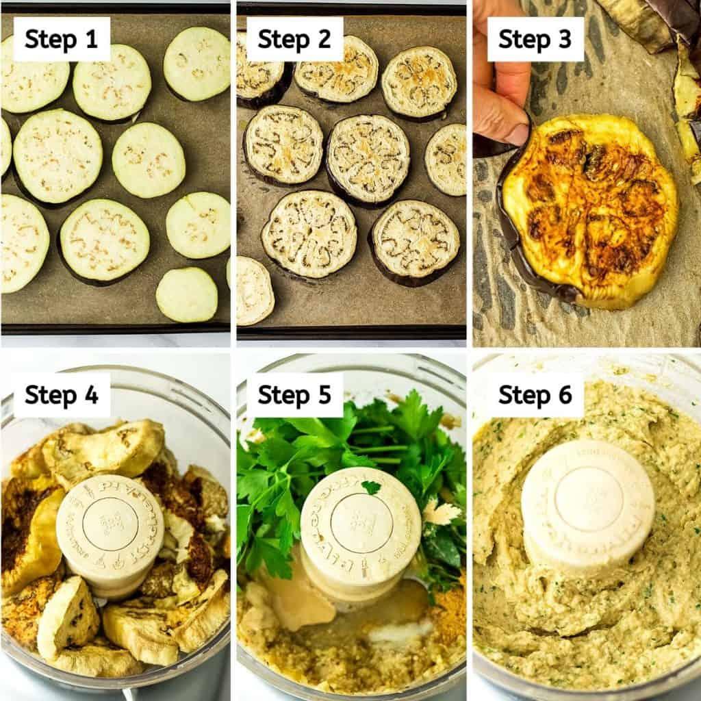 Steps on how to make mediterranean eggplant dip.