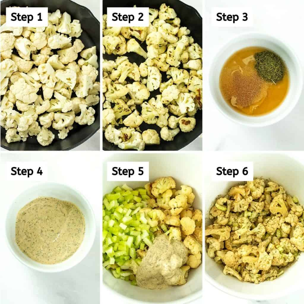 Steps on how to make cauliflower potato salad.