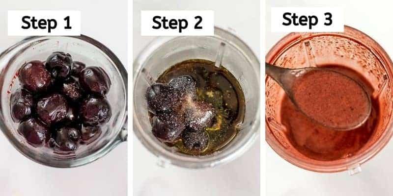 Steps to make balsamic cherry dressing