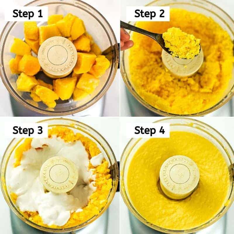 Steps on how to make mango frozen yogurt.