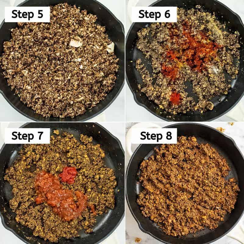 Steps 5-8 on how to make vegan walnut taco meat.
