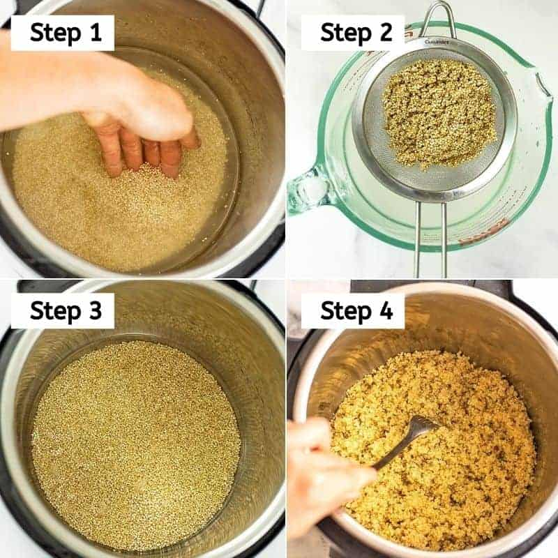 Steps to making instant pot quinoa.
