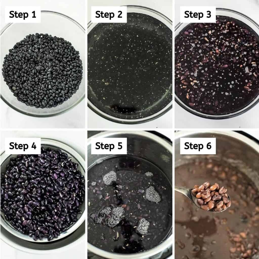 Steps on how to make soaked black beans in the instant pot.