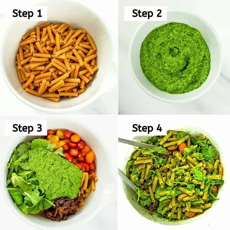 How to make pesto pasta salad with sun dried tomatoes.