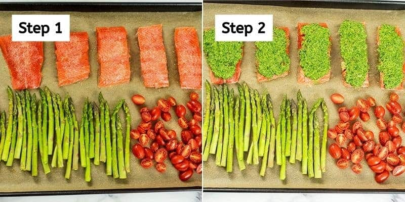 Steps on how to make pesto salmon with vegetables.