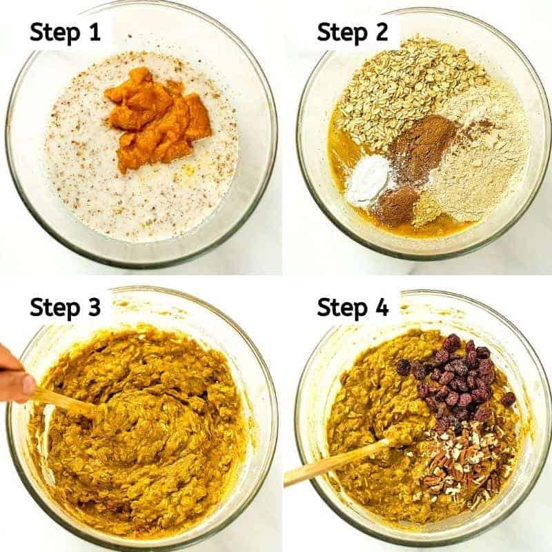 Steps to make the batter for pumpkin breakfast bars.