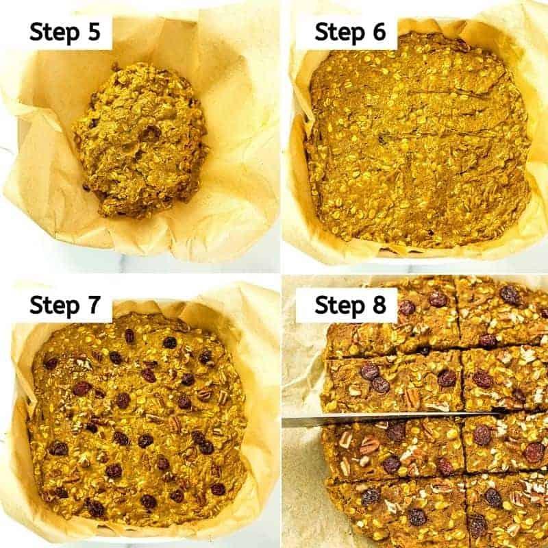 Steps to bake the pumpkin oatmeal breakfast bars.