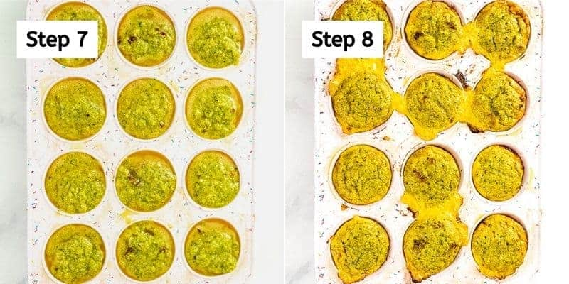 Broccoli cheese egg muffins before and after baking.