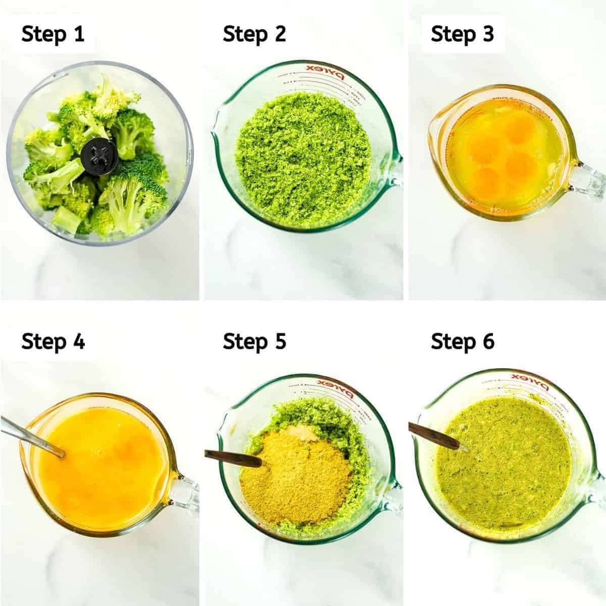 Steps on how to make cheesy broccoli egg muffins.
