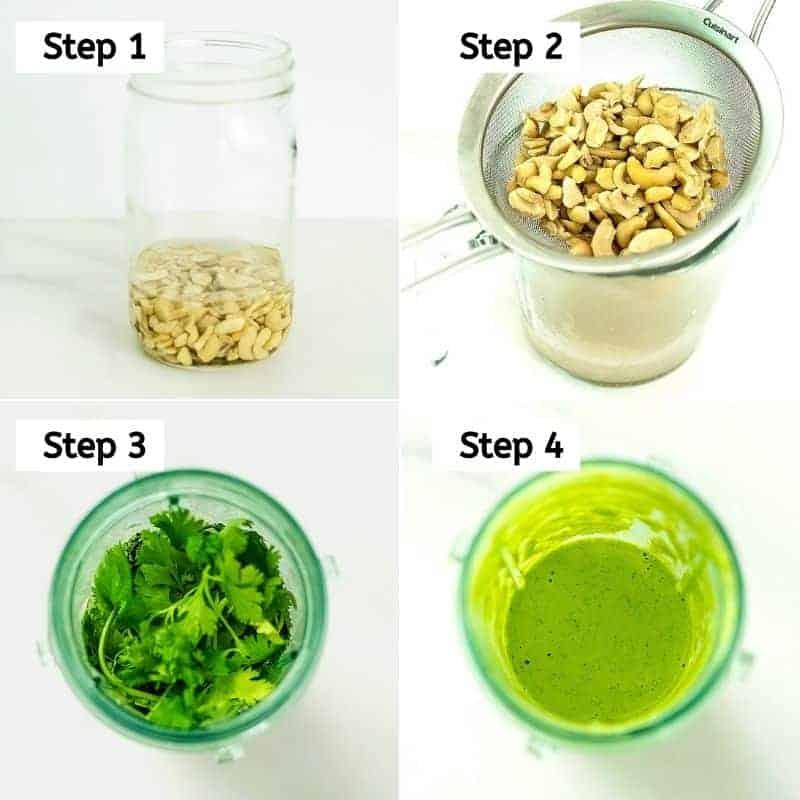 Steps to make creamy cilantro lime dressing.