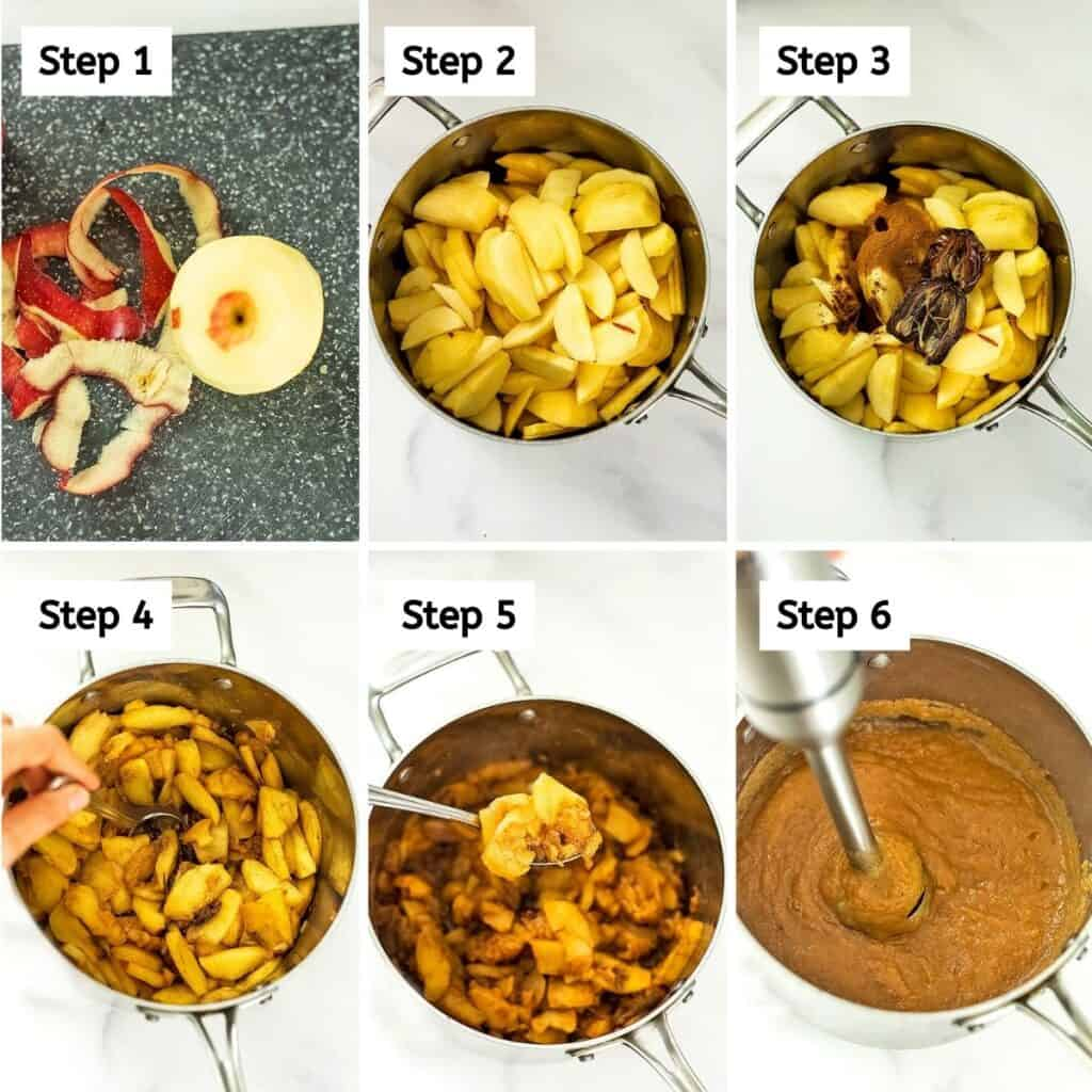 Steps to making homemade apple butter.