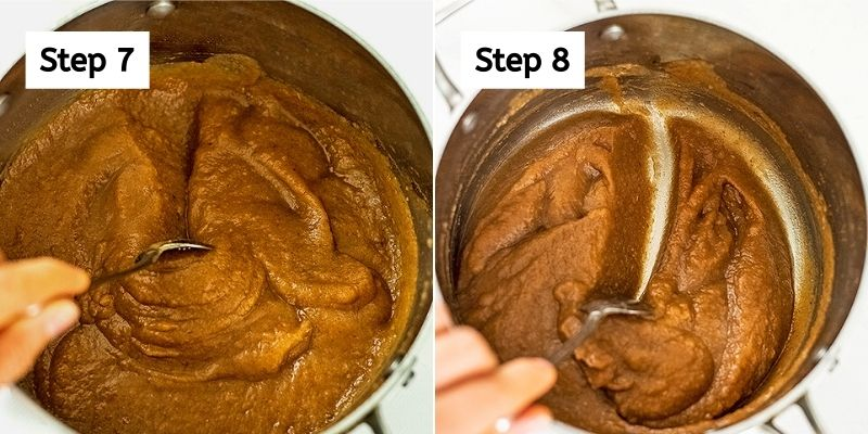 Last steps to making apple butter with no sugar.