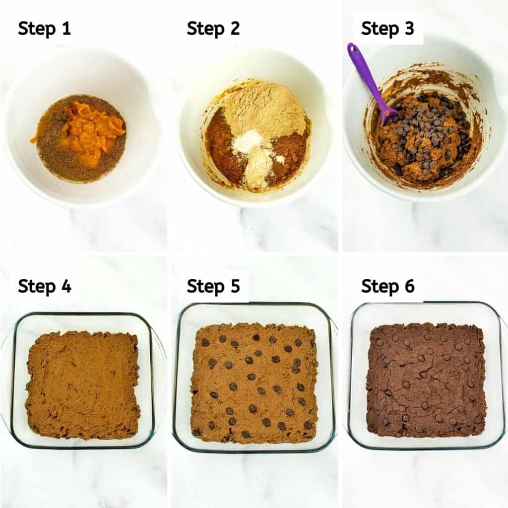 Steps on how to make protein pumpkin brownies.
