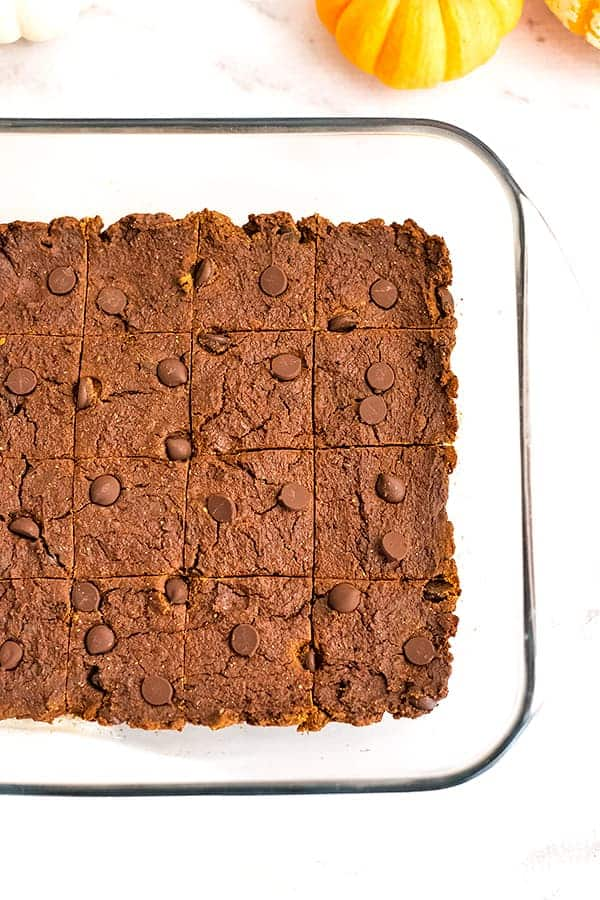 Pumpkin protein brownies in a glass baking dish.