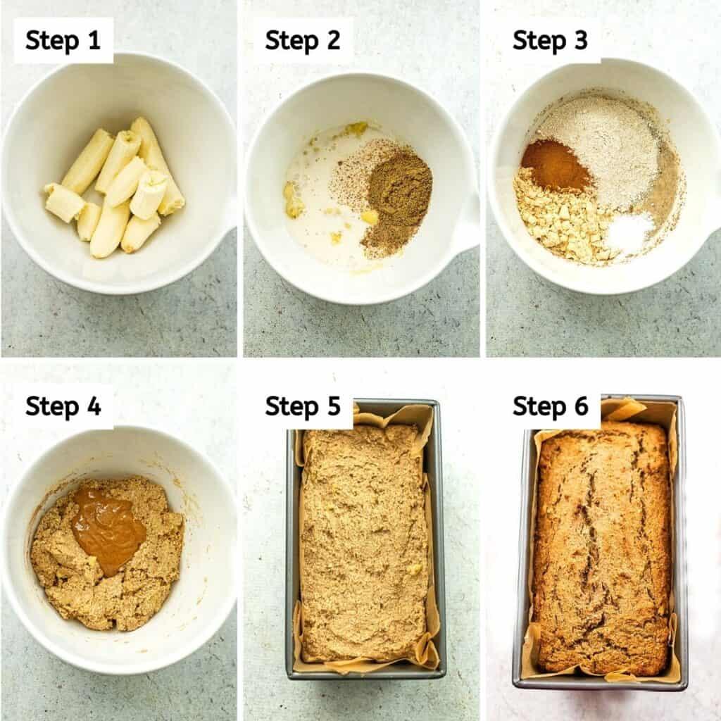 Steps to make vegan protein banana bread.