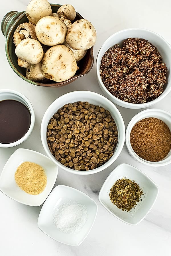 Ingredients for making quinoa lentil mushroom meatballs.