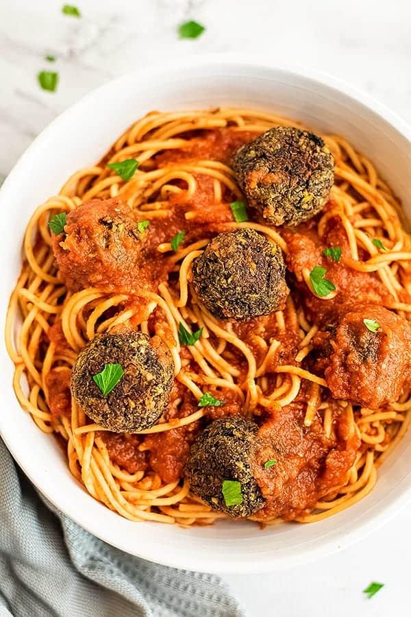 Bowl of spaghetti and vegan meatballs.