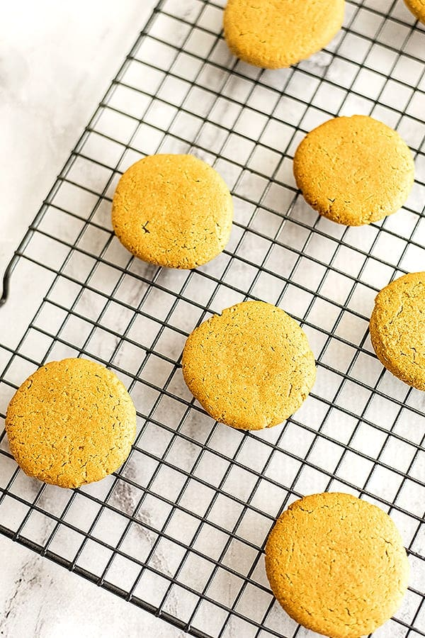 Sunbutter cookies on a cooling rack.