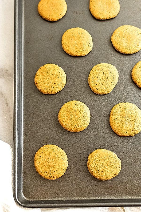 Sunbutter cookies on a baking sheet.