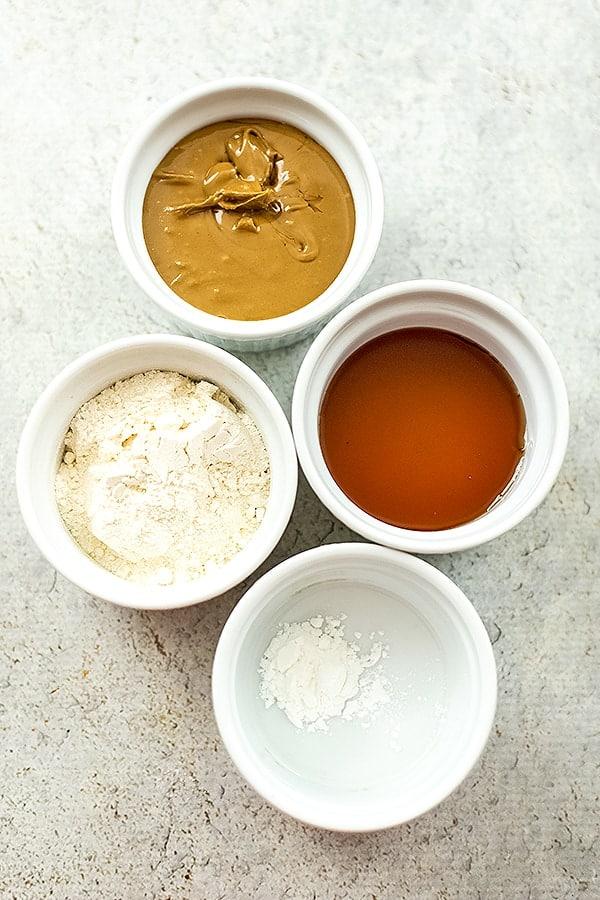 4 ingredients to make sunbutter cookies.