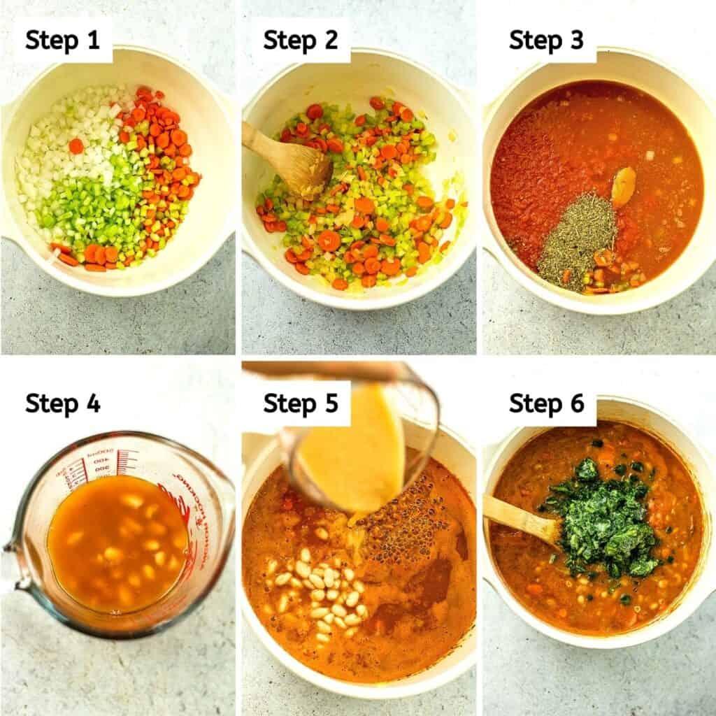 Steps on how to make vegan pasta fagioli.