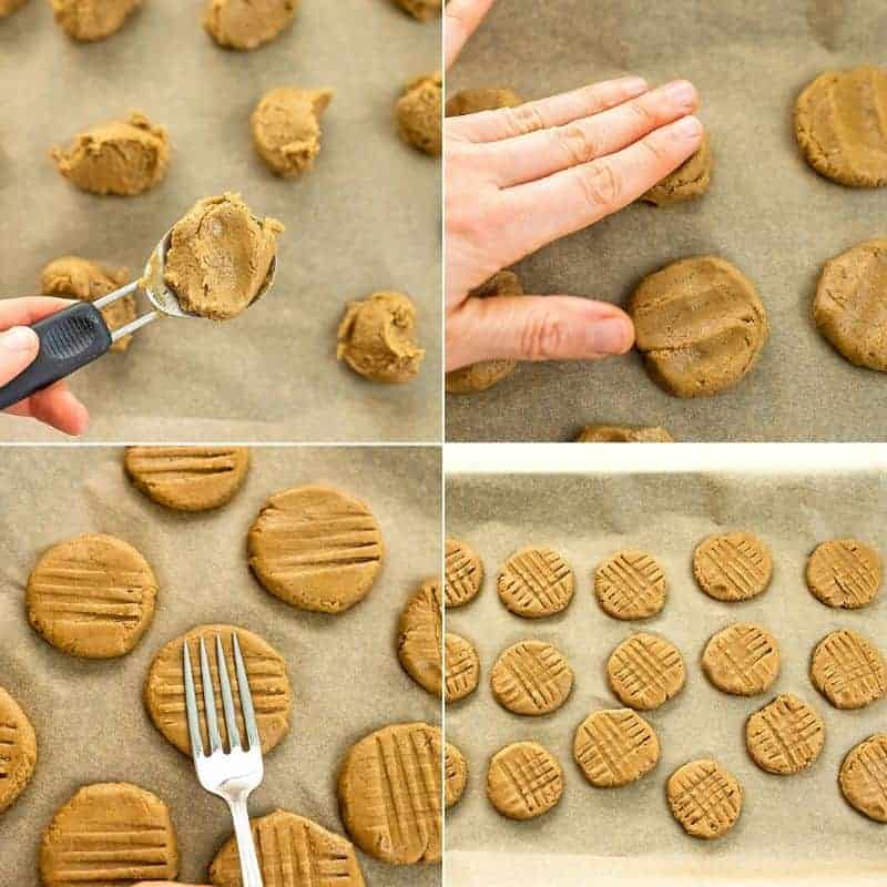 Steps 4-7 on how to make peanut butter protein cookies.