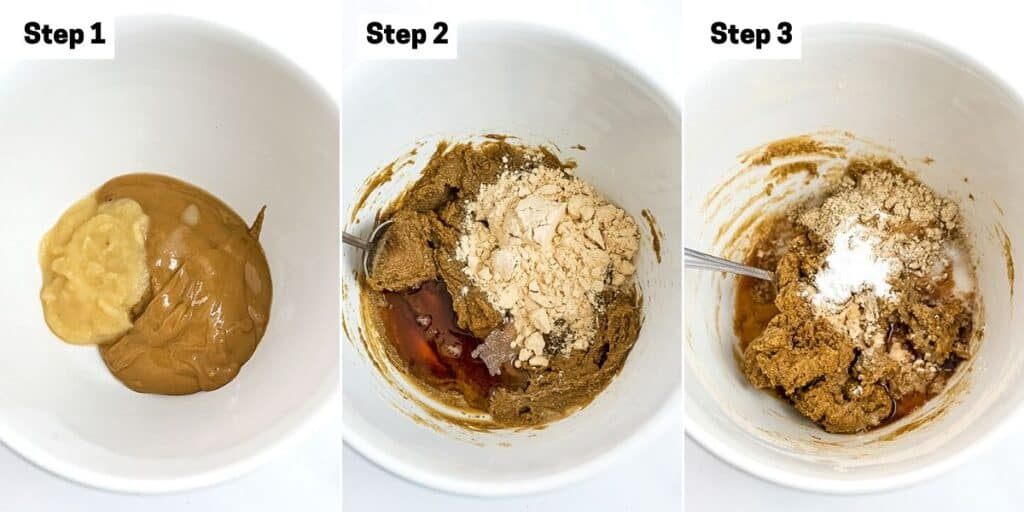 Steps 1-3 on how to make peanut butter protein cookies.