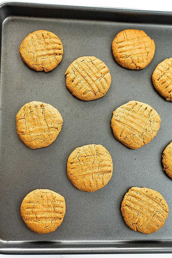 Protein peanut butter cookies on a baking sheet.