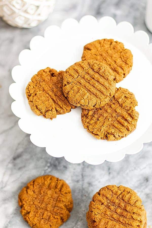 White tray of peanut butter protein cookies.